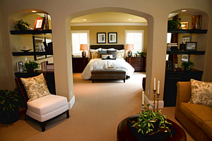 A Beige, Brown Master Bedroom